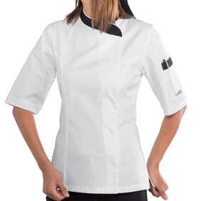 Damen Kochjacke kurzarm verd. Knopfleiste weiß/schwarz 057711M